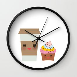 coffee in Paper thermo cup with brown cap and cup holder, chocolate cupcake. Kawaii Wall Clock