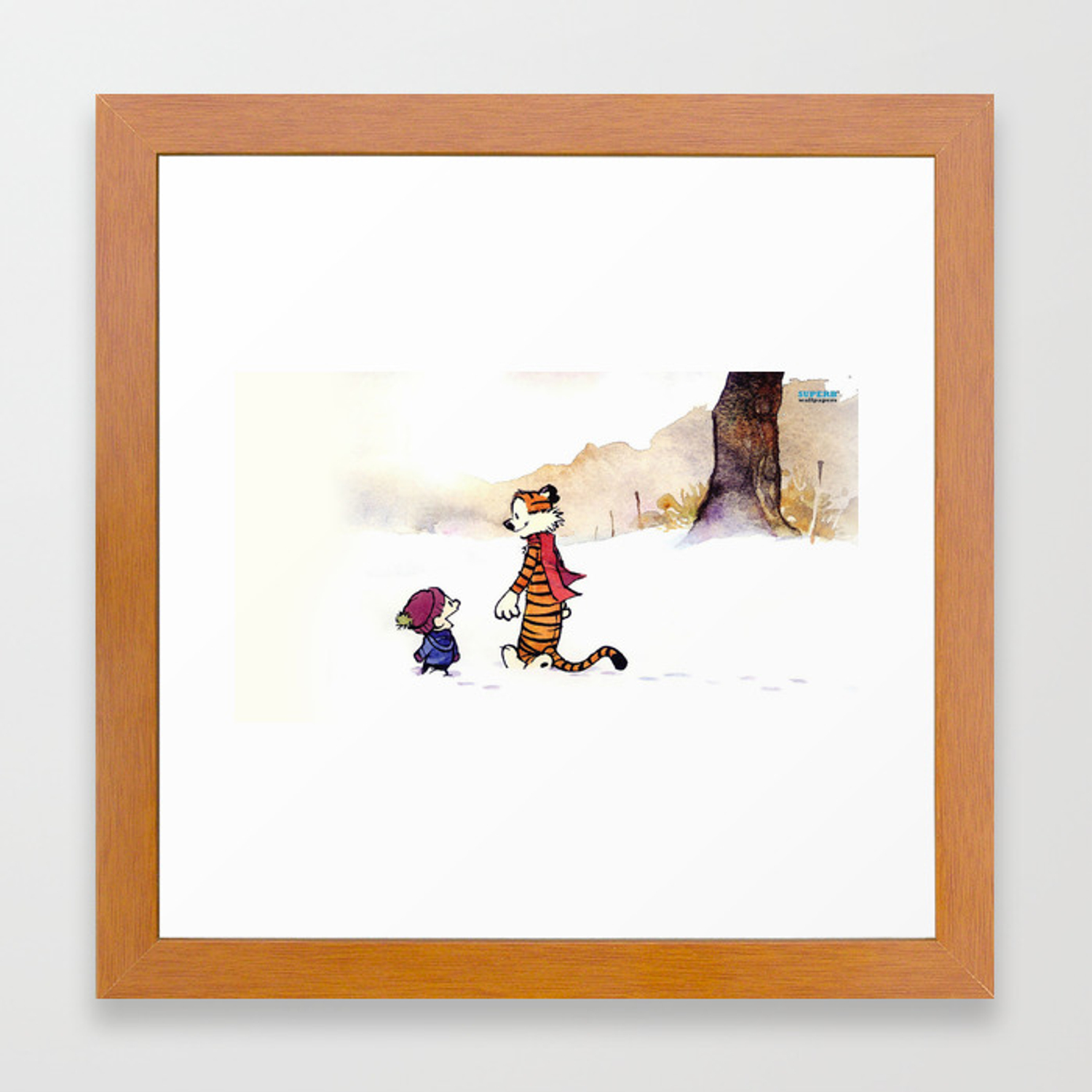 Calvin And Hobbes Winter Framed Art Print By Lbcool Society6