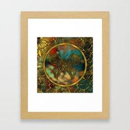 Golden Embossed Butterfly Framed Art Print