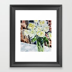 Roses Blanches Framed Art Print
