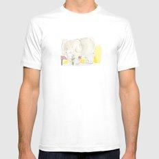 Elephant loves apples MEDIUM White Mens Fitted Tee