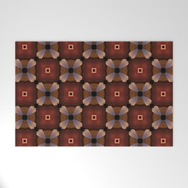 Red Square and White Circle Pattern Welcome Mat