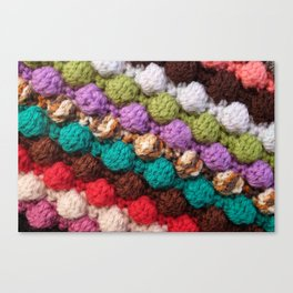 Bobbly colourful knitting Canvas Print