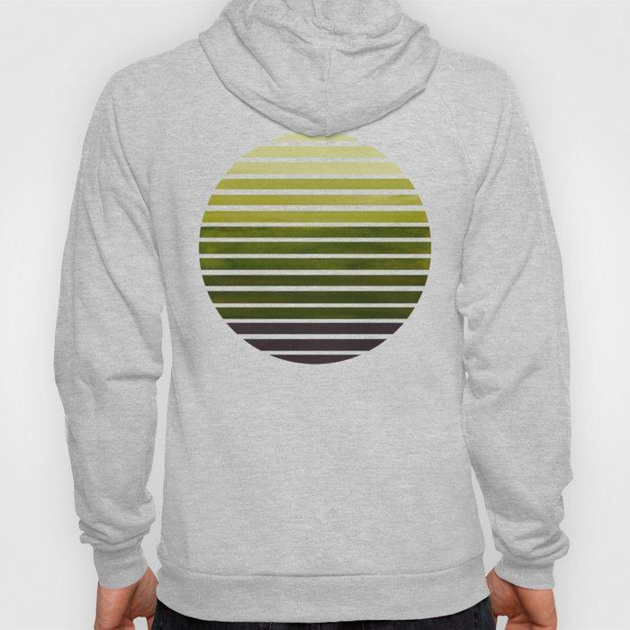 Olive Green Mid Century Modern Minimalist Scandinavian Colorful Stripes Geometric Pattern Round Circ Hoody
