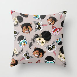 Pop Cats - Pattern French Gray Grey Throw Pillow