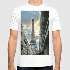 Eiffel Tower White MEDIUM Mens Fitted Tee