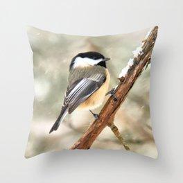 Clinging Chickadee Throw Pillow