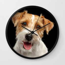 Jack Russell Terrier Dog on Isolated Black Background in studio Wall Clock