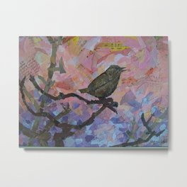 Wren in collage Metal Print