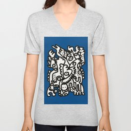 Blue Navy Color 2020 with Black and White Cool Monsters Unisex V-Neck