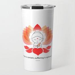 Buddha saying Namaste while sitting on a sacred lotus. Travel Mug