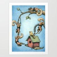 Ninja Squirrels Art Print
