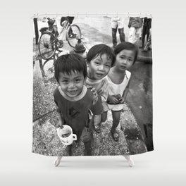 Vietnamese Children with a goldfish  Shower Curtain