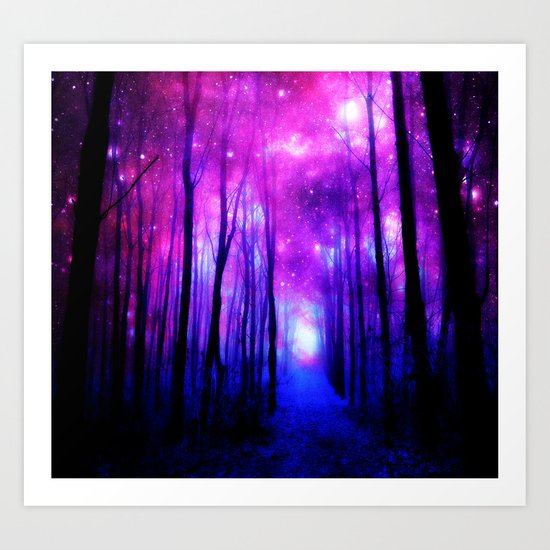 Magical Forest Path Fuchsia Purple Blue Art Print