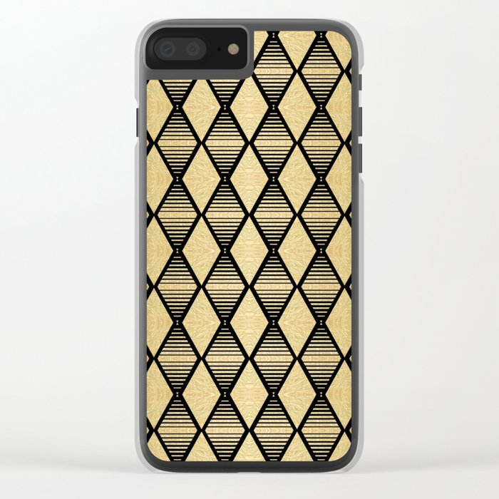 Black and Gold Geometric Pattern Clear iPhone Case