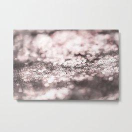 Shiny rose sparkling bokeh Metal Print