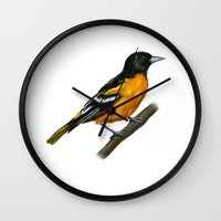 baltimore Wall Clocks featuring Baltimore oriole  by Alar Illustration