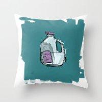 milk Throw Pillows featuring Milk by Keanu Lee