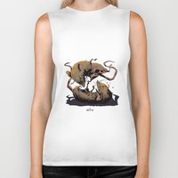 rat Biker Tanks featuring rat fight by antoniopiedade
