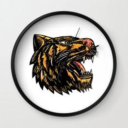 Growling Tiger Woodcut Wall Clock