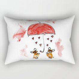 """Rain and wind of love"" french bulldog art by BouboleArt Rectangular Pillow"