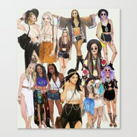 coachella Canvas Prints featuring Coachella Girls by Sara Eshak