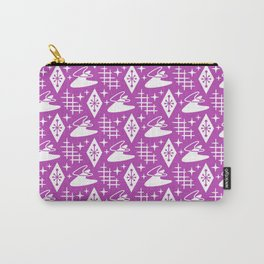 Mid Century Modern Boomerang Abstract Pattern Magenta Carry-All Pouch