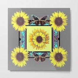 Rustic Western Sunflowers & Butterflies  Metal Print