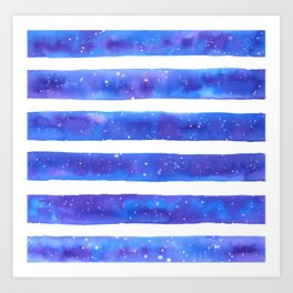 Blue and White Watercolour Stripes Painted Pattern Art Print