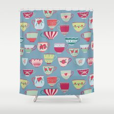 China Teacups on Teal Shower Curtain