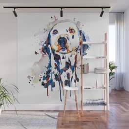 Dalmatian Head Watercolor Portrait Wall Mural