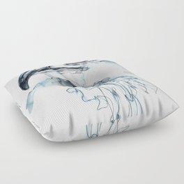 Hawk, Watercolor Floor Pillow