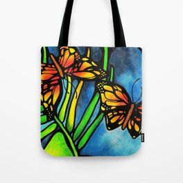 Beautiful Monarch Butterflies Fluttering Over Palm Fronds by annmariescreations Tote Bag
