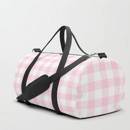 Light Soft Pastel Pink Cowgirl Buffalo Check Plaid Duffle Bag