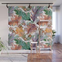Colorful Watercolor Oak And Acorn Pattern Wall Mural