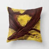 smaug Throw Pillows featuring Smaug by toibi