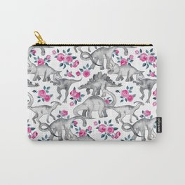 Dinosaurs and Roses - white Carry-All Pouch
