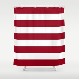 Heidelberg red[2] - solid color - white stripes pattern Shower Curtain