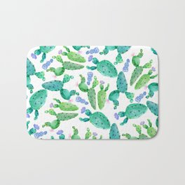 Watercolor hand painted violet green cactus floral Bath Mat