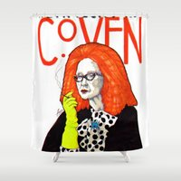 coven Shower Curtains featuring WE PROTECTED THE COVEN by Robert Red ART