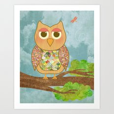Woodland Owl in a Tree Art Print