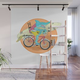 hammered hammerhead heading out to surf Wall Mural