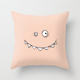 Happy Pink Monster Throw Pillow