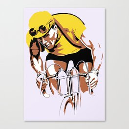 The yellow jersey (retro style cycling) Canvas Print