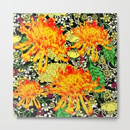 colorful oriental style golden spider mums pattern art Metal Print