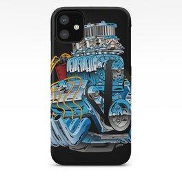 Classic Muscle Car Hot Rod Chrome Racing Engine Cartoon iPhone Case