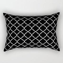 Black and White Moroccan Quatrefoil Rectangular Pillow