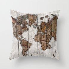 Wood Map 2 Throw Pillow