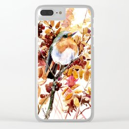 Robin Bird and Colors of Fall Clear iPhone Case