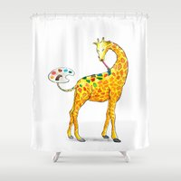 giraffe Shower Curtains featuring Giraffe by gunberk